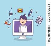 business office employee... | Shutterstock .eps vector #1204573285
