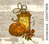 vintage color card with old... | Shutterstock .eps vector #1204573858