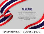 waving ribbon or banner with... | Shutterstock .eps vector #1204581478