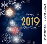 2019 happy new year and marry... | Shutterstock . vector #1204588525