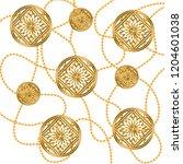gold baroque ornament. golden... | Shutterstock . vector #1204601038