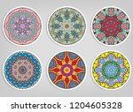 decorative round ornaments set  ... | Shutterstock .eps vector #1204605328