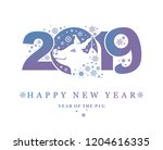 year of the pig 2019. happy new ...   Shutterstock .eps vector #1204616335