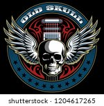 vintage style vector skull with ... | Shutterstock .eps vector #1204617265