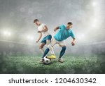 soccer players on a football... | Shutterstock . vector #1204630342
