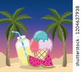 tropical beach scenery theme... | Shutterstock .eps vector #1204637938