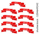 set of red sale ribbons with... | Shutterstock .eps vector #1204649242