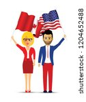 canada and america flag waving... | Shutterstock .eps vector #1204652488