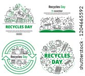 recycles day banner set....   Shutterstock .eps vector #1204665592
