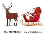 santa sleigh with reindeer and... | Shutterstock .eps vector #1204666972
