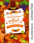 friendsgiving thanksgiving day... | Shutterstock .eps vector #1204667068