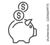piggy bank icon. outline piggy... | Shutterstock .eps vector #1204669975