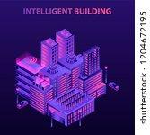 intelligent building concept... | Shutterstock .eps vector #1204672195