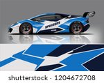 racing car wrap design. sedan... | Shutterstock .eps vector #1204672708