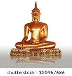 gold buddha statue on white...
