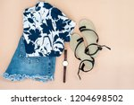flat lay of woman clothes and... | Shutterstock . vector #1204698502