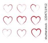 brush stroke grunge hearts... | Shutterstock .eps vector #1204711912
