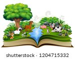 open book with animal farm... | Shutterstock . vector #1204715332