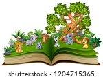 open book with animal cartoon... | Shutterstock . vector #1204715365