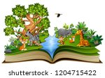 open book with the animal... | Shutterstock .eps vector #1204715422