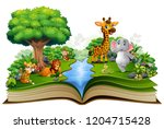 open book with the animal... | Shutterstock .eps vector #1204715428