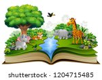 open book with the animal... | Shutterstock .eps vector #1204715485