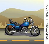 Motorcycle on the open road sketch Vector (also has a red color layer)