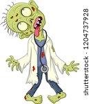 cartoon zombie doctor on white... | Shutterstock .eps vector #1204737928