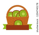wicker basket with fresh dragon ... | Shutterstock .eps vector #1204740178