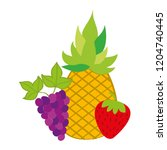 pineapple strawberry and grapes ... | Shutterstock .eps vector #1204740445