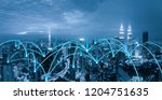 cityscape network connection  | Shutterstock . vector #1204751635