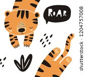 cute tiger vector illustration. ... | Shutterstock .eps vector #1204757008