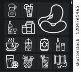 set of 13 beverage outline... | Shutterstock .eps vector #1204765465