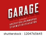 retro style condensed typeface  ... | Shutterstock .eps vector #1204765645