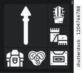 set of 6 vintage filled icons... | Shutterstock .eps vector #1204766788