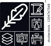 set of 6 paper outline icons... | Shutterstock .eps vector #1204767568