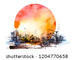 watercolor art illustration.... | Shutterstock . vector #1204770658