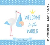 baby shower boy card. vector.... | Shutterstock .eps vector #1204772752