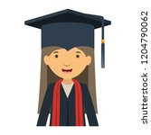 young woman graduating avatar... | Shutterstock .eps vector #1204790062