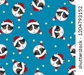 black white cat santa claus on... | Shutterstock .eps vector #1204793152