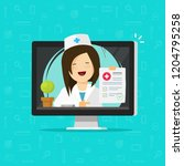 telemedicine vector... | Shutterstock .eps vector #1204795258