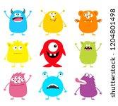 happy halloween. cute monster... | Shutterstock . vector #1204801498