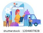 online delivery service concept.... | Shutterstock .eps vector #1204807828