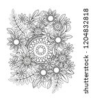 floral mandala pattern in black ... | Shutterstock . vector #1204832818