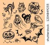 vector set of halloween icon on ... | Shutterstock .eps vector #1204849255