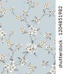 watercolor blooming flowers ... | Shutterstock . vector #1204851982