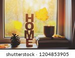 cozy autumn morning at home.... | Shutterstock . vector #1204853905