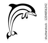 icon jumping dolphin.... | Shutterstock .eps vector #1204856242