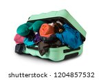plastic suitcase with wheels ... | Shutterstock . vector #1204857532