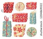 set of vector christmas gift... | Shutterstock .eps vector #1204869022